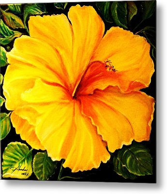 Yellow Hibiscus Metal Print by Yolanda Rodriguez