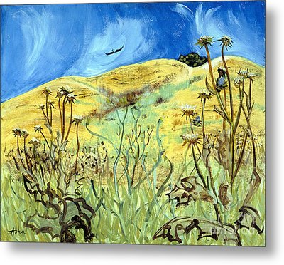 Metal Print featuring the painting Yellow Hills And Thistles  by Asha Carolyn Young