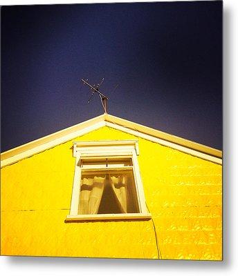 Yellow House In Akureyri Iceland Metal Print