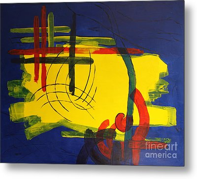 Yellow Island On Blue Metal Print by Christiane Schulze Art And Photography