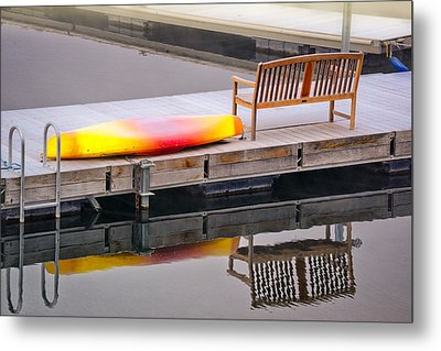 Metal Print featuring the photograph Yellow Kayak At The Sparks Marina by Janis Knight