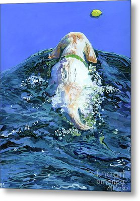 Yellow Lab  Blue Wake Metal Print by Molly Poole