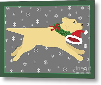 Yellow Labrador Dog Steals Santa's Hat Metal Print