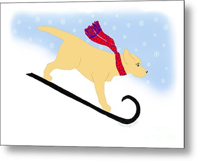Yellow Labrador Snowboard Dog Metal Print