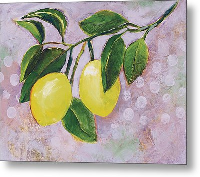 Yellow Lemons On Purple Orchid Metal Print by Jen Norton