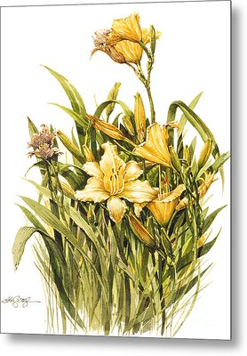 Metal Print featuring the painting Yellow Lily by Bob  George