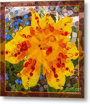 Yellow Lily With Streaks Of Red Abstract Painting Flower Art Metal Print
