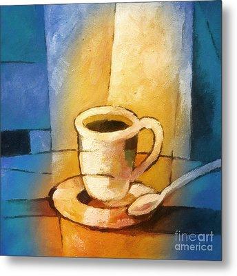 Yellow Morning Cup Metal Print