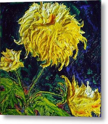Yellow Mum Metal Print by Paris Wyatt Llanso