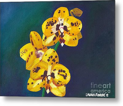 Yellow Orchids Metal Print by Laura Forde