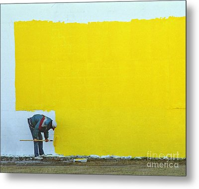 Yellow Paint Metal Print