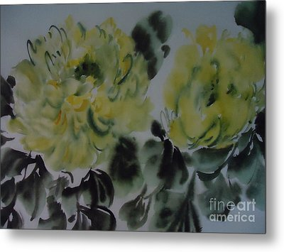 Metal Print featuring the painting Yellow Peony 1-01272012 by Dongling Sun