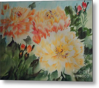 Metal Print featuring the painting Yellow Peony by Dongling Sun