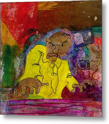 Metal Print featuring the mixed media Yellow Piano Man by Catherine Redmayne