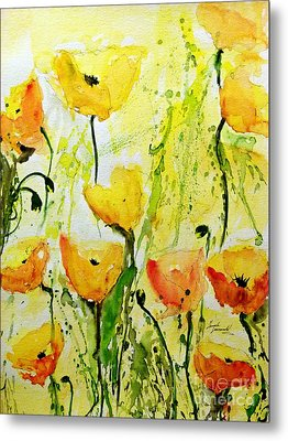 Yellow Poppys - Abstract Floral Painting Metal Print by Ismeta Gruenwald