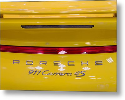 yellow Porsche Metal Print