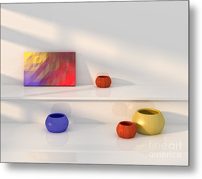 Yellow Red Blue Vase Still Life. Metal Print by Jan Brons