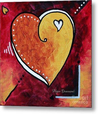 Yellow Red Orange Heart Love Painting Pop Art Love By Megan Duncanson Metal Print