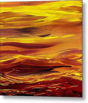 Yellow River Flow Abstract Metal Print by Irina Sztukowski