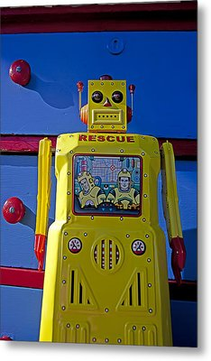 Yellow Robot In Front Of Drawers Metal Print by Garry Gay