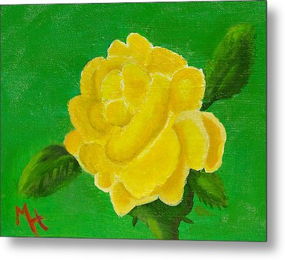 Metal Print featuring the painting Yellow Rose Of Beta Sigma Phi by Margaret Harmon
