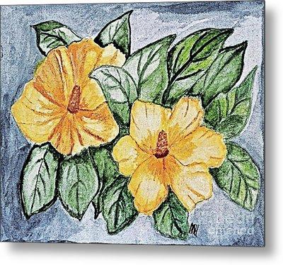 Yellow Rose Of Sharon Painting Metal Print