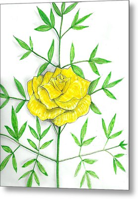 Yellow Rose With Shadows Metal Print