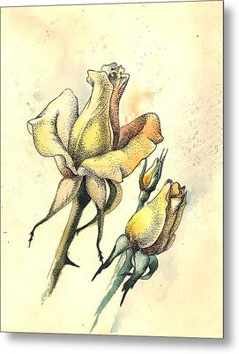 Yellow Roses In Watercolor And Stippling Metal Print