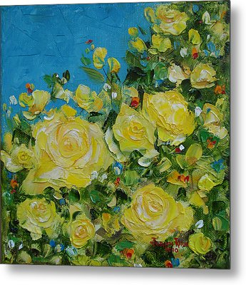 Metal Print featuring the painting Yellow Roses by Judith Rhue