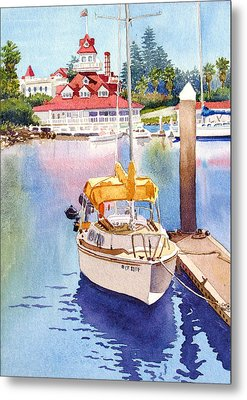 Yellow Sailboat And Coronado Boathouse Metal Print by Mary Helmreich