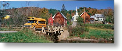 Yellow School Bus Crossing Wooden Metal Print