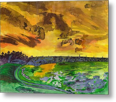 Yellow Skies Metal Print by Beverly Marshall