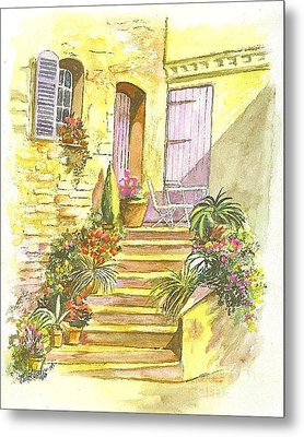 Metal Print featuring the painting Yellow Steps by Carol Wisniewski