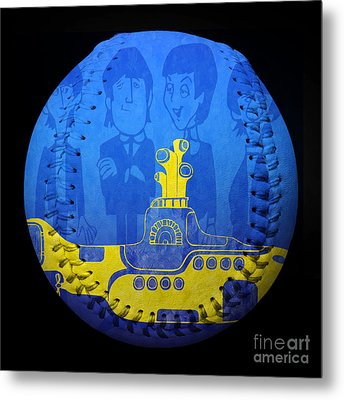 Yellow Submarine Baseball Square Metal Print by Andee Design