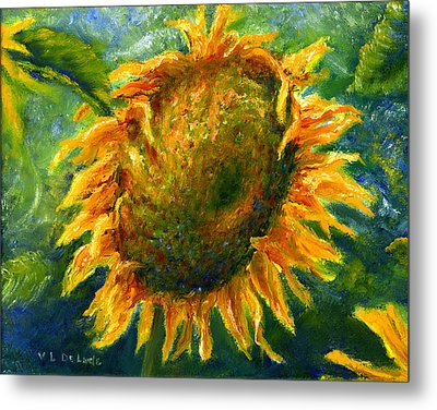 Yellow Sunflower Art In Blue And Green Metal Print