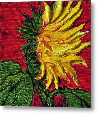 Yellow Sunflower On Red Metal Print by Paris Wyatt Llanso