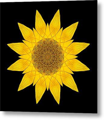 Yellow Sunflower X Flower Mandala Metal Print