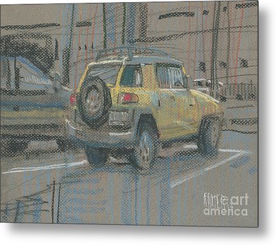 Metal Print featuring the painting Yellow Suv by Donald Maier