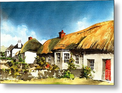 Yellow Thatch In Adare  Limerick Metal Print