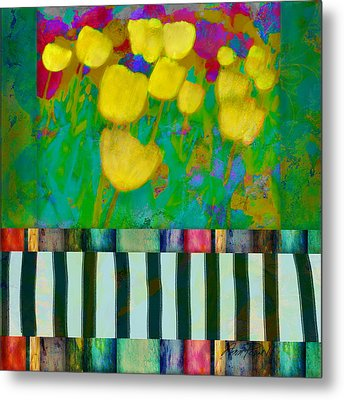 Yellow Tulips Abstract Art Metal Print by Ann Powell