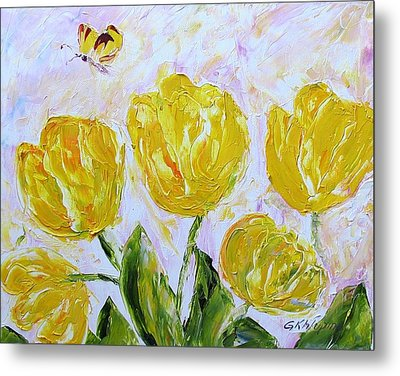 Yellow Tulips And Butterfly Metal Print