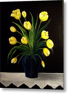 Yellow Tulips And White Eyelet Metal Print by Peggy Miller