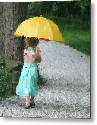 Yellow Umbrella Metal Print by Diane Merkle
