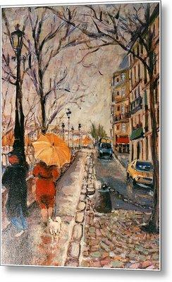 Yellow Umbrella Metal Print by Walter Casaravilla