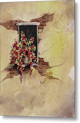 Yellow Wall With Red Flowers Metal Print by Sam Sidders