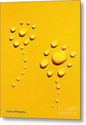 Yellow Water Flowers Metal Print by Kip Krause
