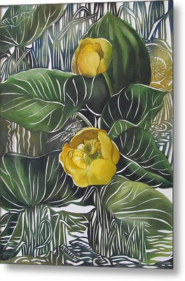 Yellow Waterlilies Metal Print by Alfred Ng