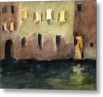 Yellow Windows At Night Watercolor Painting Of Venice Italy Metal Print by Beverly Brown