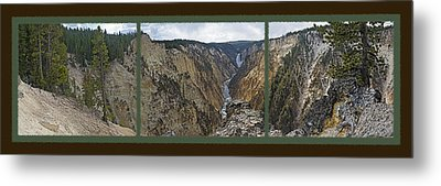 Yellowstone Artist's Point Overlook -  Panoramic Triptych Metal Print by Steve Ohlsen