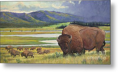 Metal Print featuring the painting Yellowstone Bison by Rob Corsetti